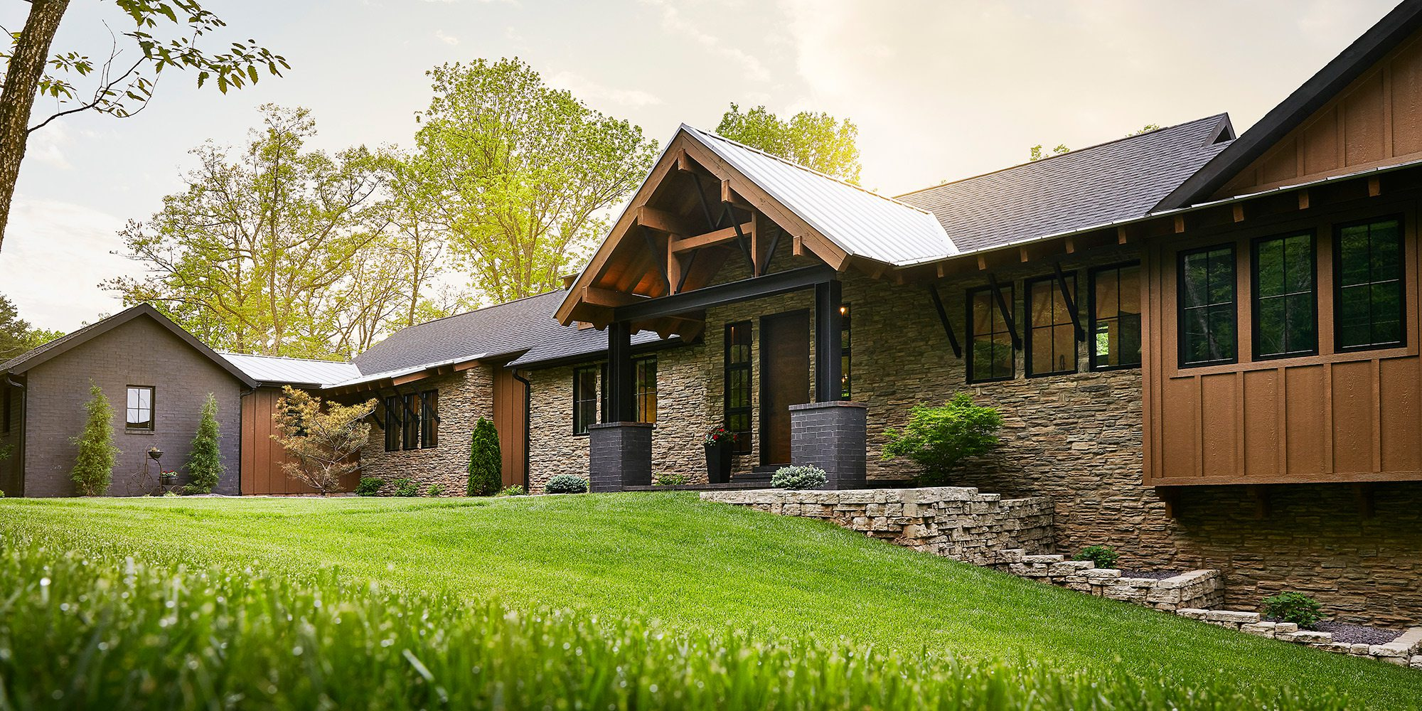 Exterior of rustic midcentury modern home in southwest Missouri