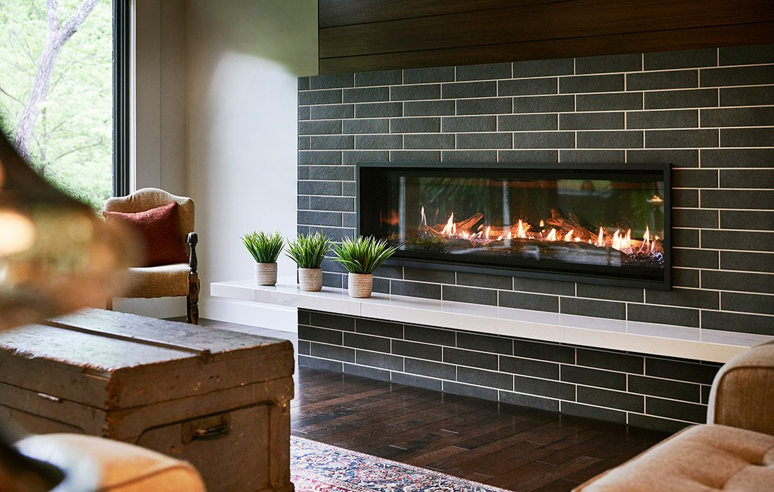 Fireplace of rustic midcentury modern home in southwest Missouri