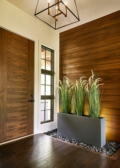 Front entryway of rustic midcentury modern home in southwest Missouri