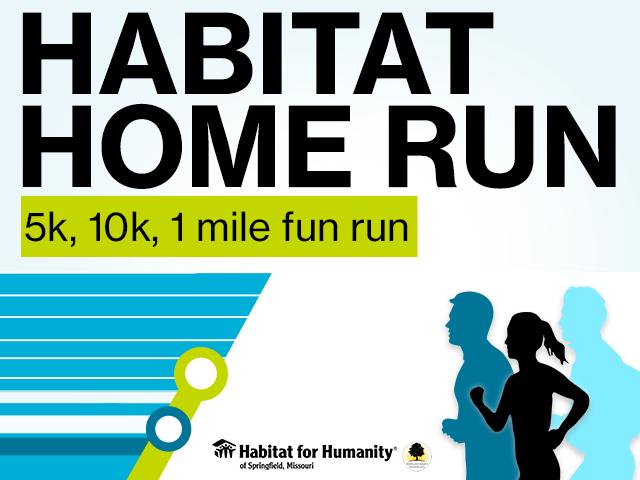 Habitat Home Run; 5k, 10k, 1 mile fun run in Springfield, MO.