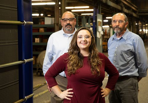 Hanna Perez with GO CAPS mentors Joseph Meissert and Dave Garner  at Paul Mueller Co. in Springfield MO
