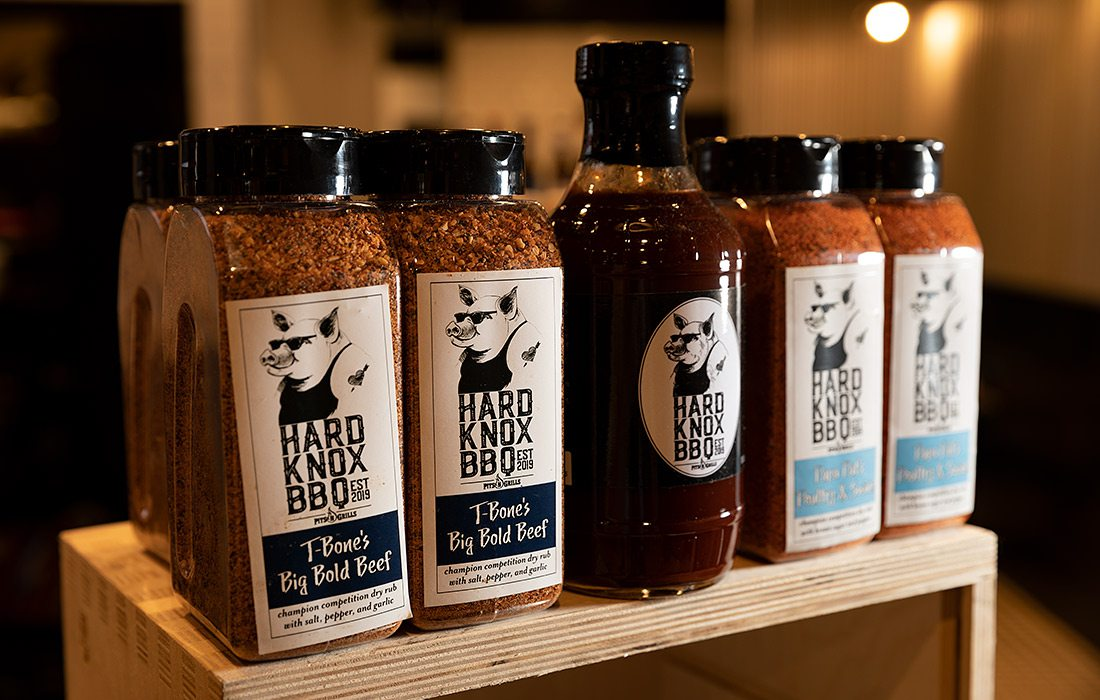 House made rubs and sauces at Hard Knox BBQ in Springfield MO
