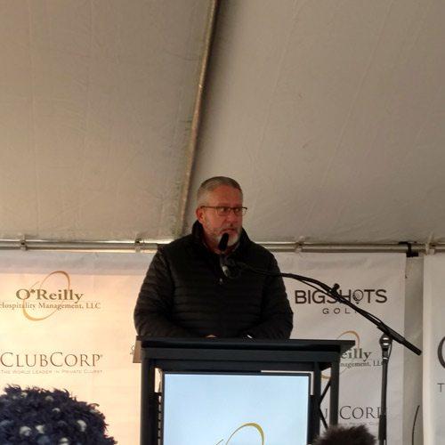 Darren Harralson speaks at the BigShots groundbreaking ceremony.