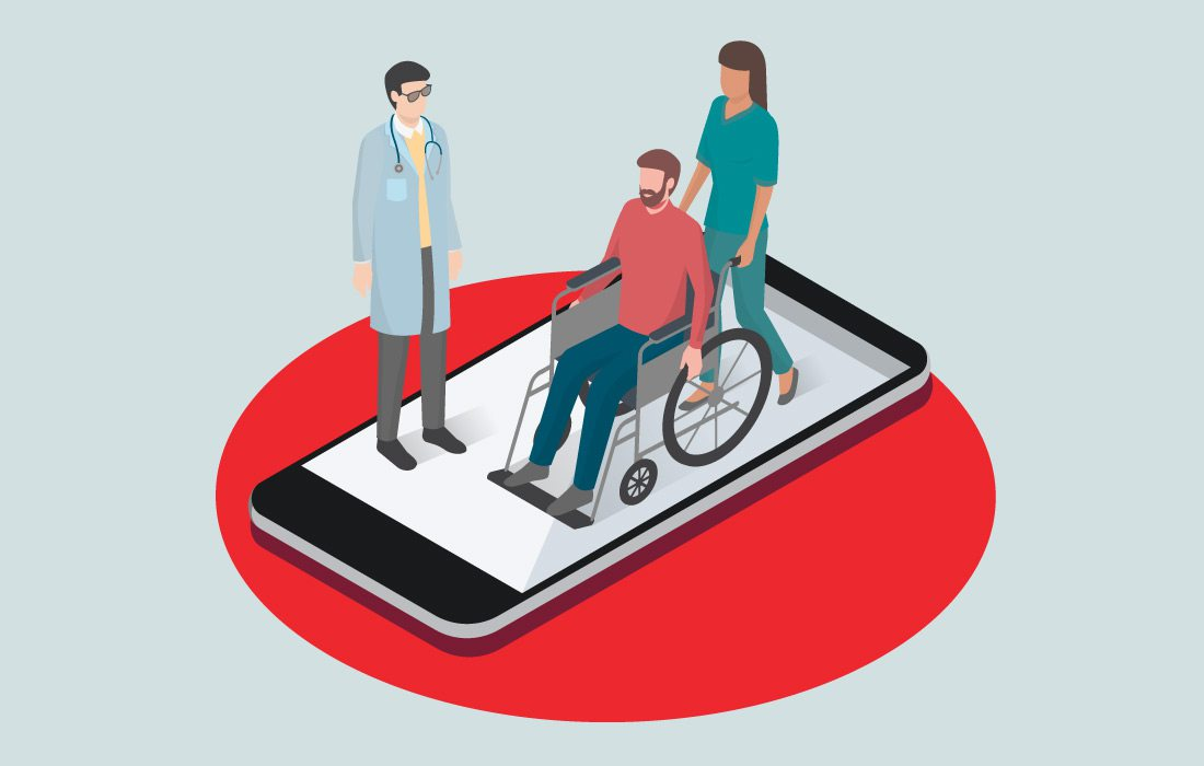 man in wheelchair at hospital on a phone