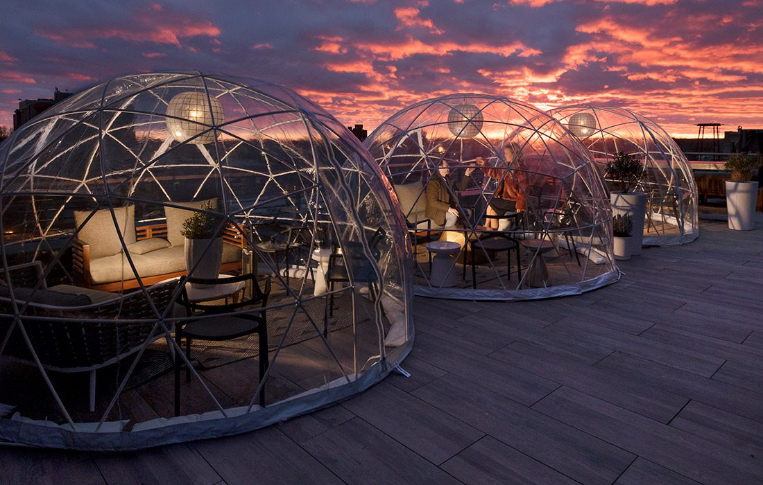 Igloos at Vantage Rooftop Lounge & Conservatory in Springfield MO