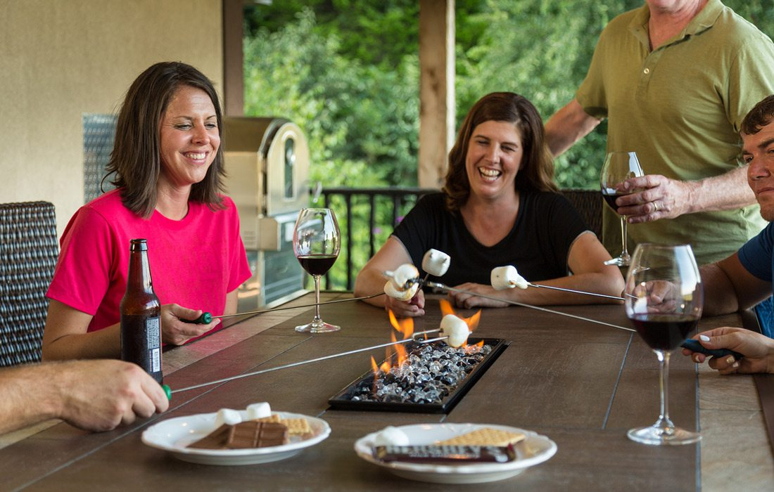 Toasting marshmallows indoors at Hermann Hill, Hermann, Missouri