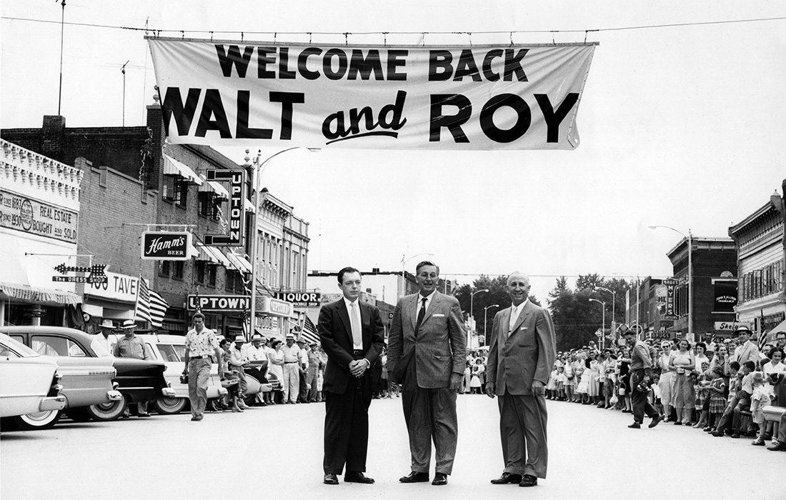 Historic photo of Walt and Roy Disney in Marceline, Missouri