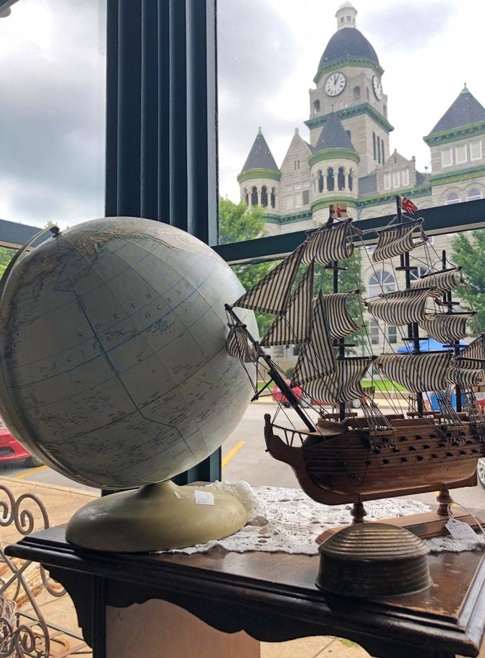 Globe and ship in the window