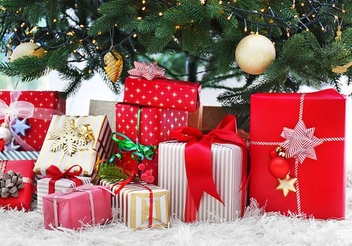 Colorful presents under the Christmas tree