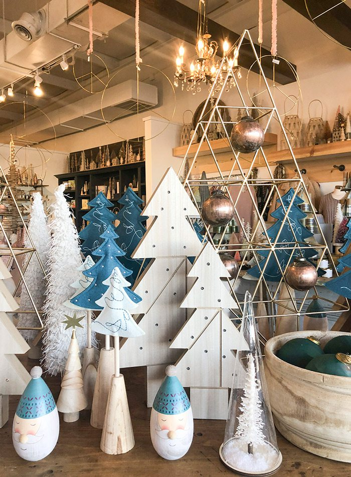 Wooden blue and white Christmas tree display