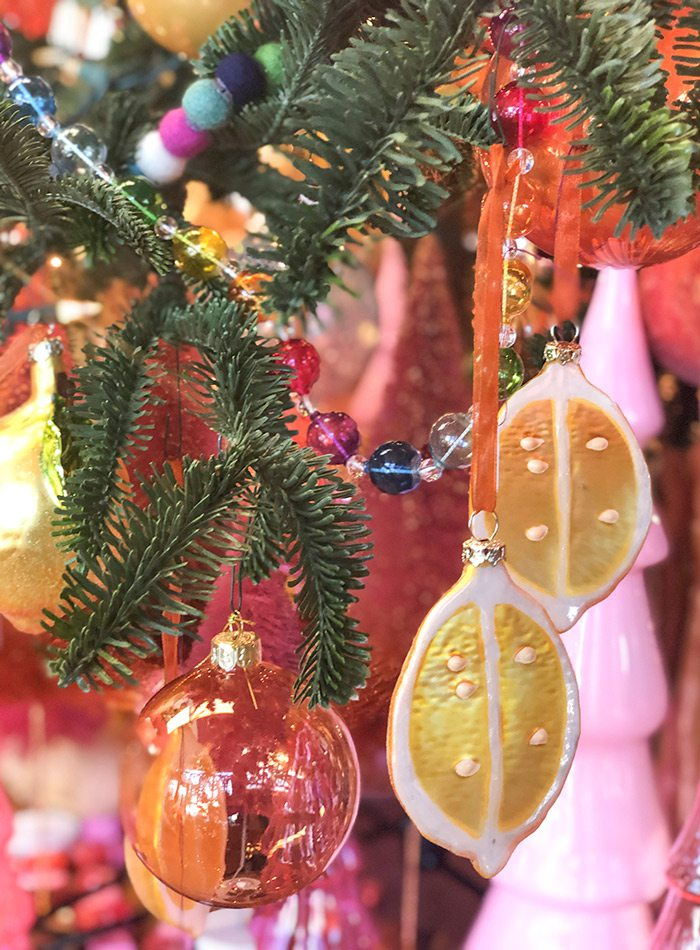 Citrus Christmas tree decor at The Thicket