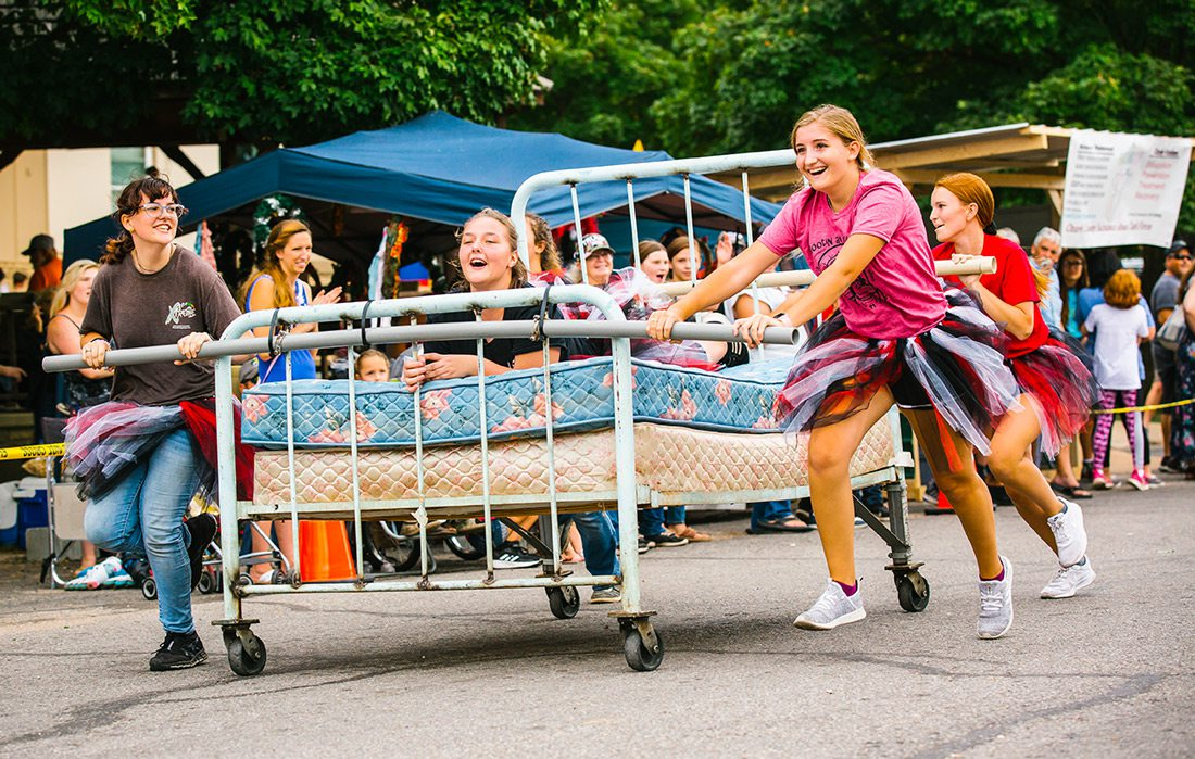 Bed race at fall festival