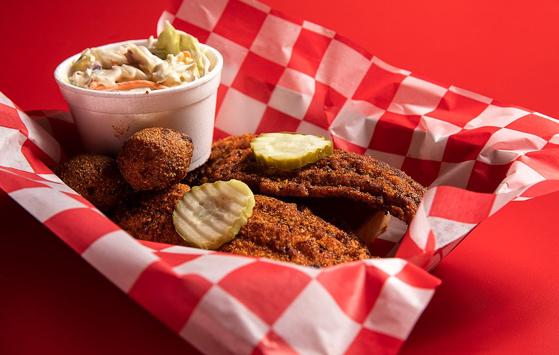 Nashville inspired chicken at Hot Cluckers in Springfield, Missouri