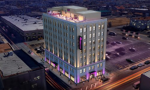 Concept for edgy Moxy Hotel in downtown Springfield MO
