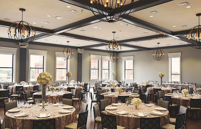 Wedding banquet room at Hotel Vandivort in downtown Springfield, MO