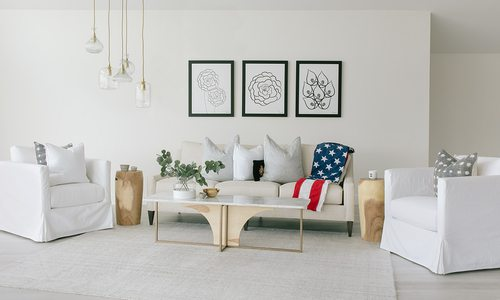 Bright white room with light colored furniture and decor