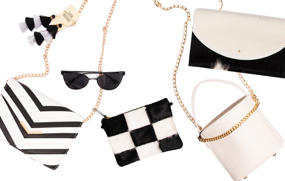 Variety of small black and white purses from Springfield MO boutiques