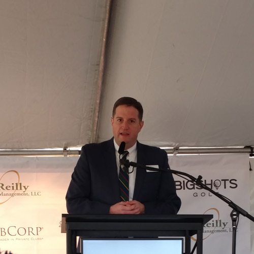Dr. Matt Hudson speaks at the BigShots groundbreaking ceremony.