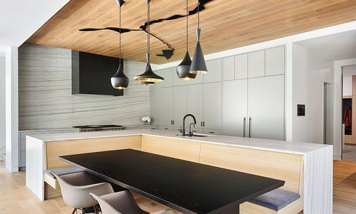 Modern kitchen design in a southwest Missouri home designed by Kansas City based Hufft