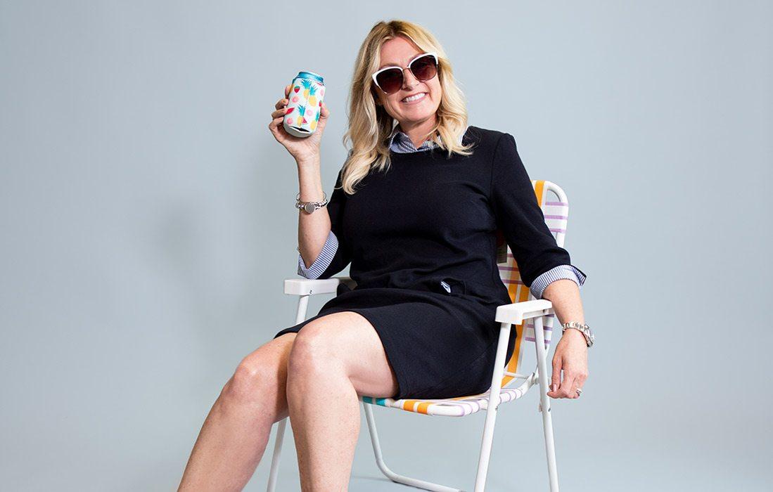 Brenda Conroy sits in lawn chair