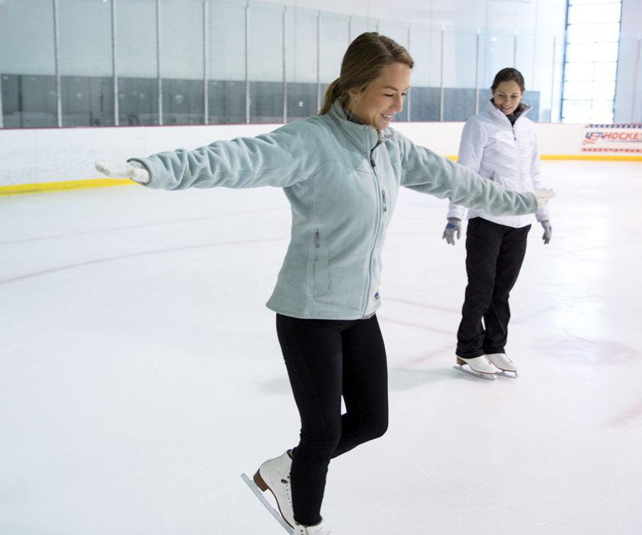 Digital Director Dayle Duggins takes her first steps on the ice.