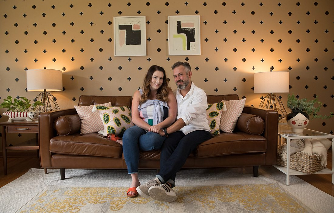 Jillian Kane and fiance Levi Stracke in their newly refreshed living room