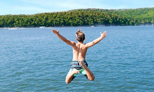 Wake surfing on the lake