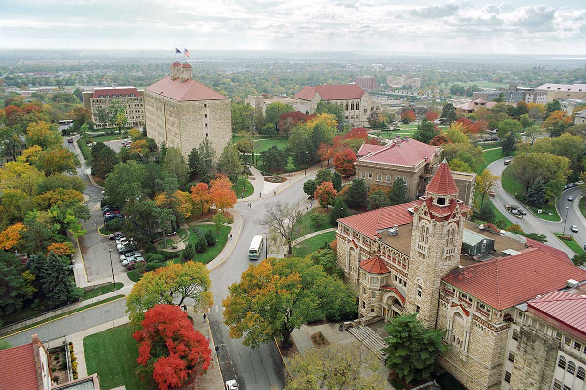 aerial view of KU's college campus