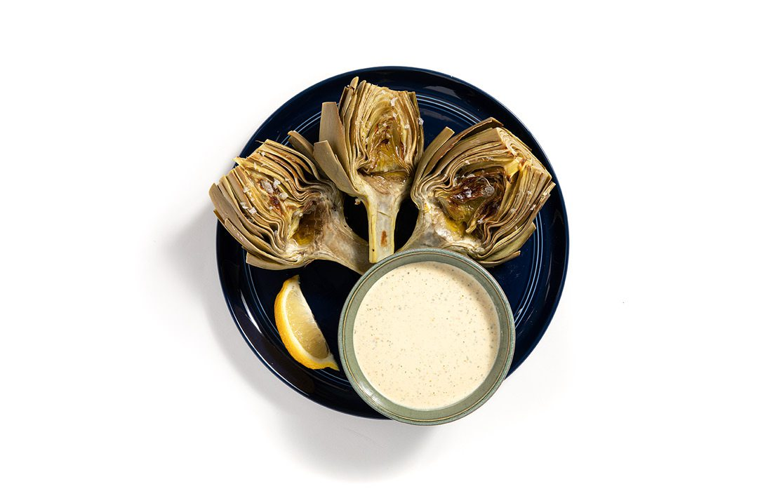 Roasted artichokes and aioli dip