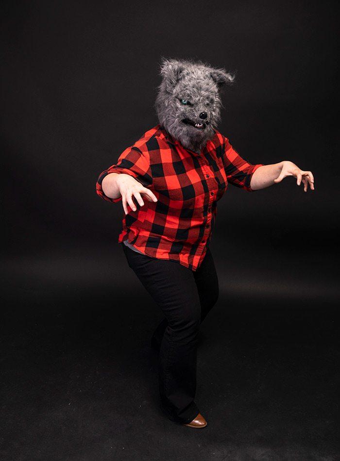 Katie Pollock Estes as a werewolf for Halloween 2019