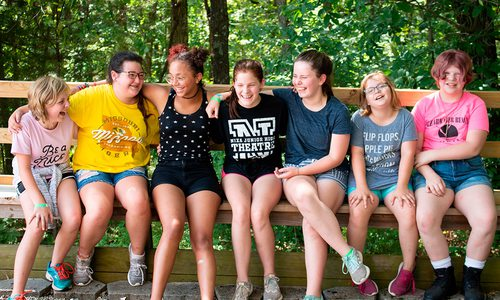 Group of Girl Scouts at summer camp