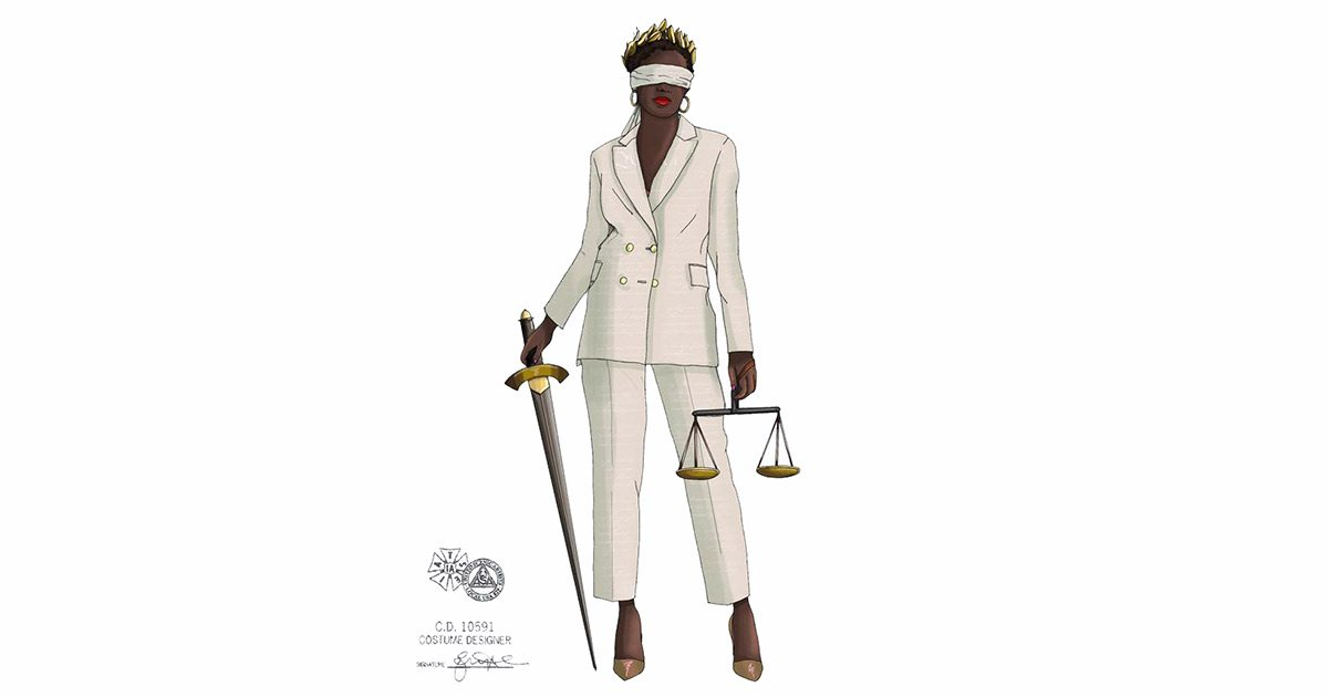 Commissioned Lady Justice artwork by Boston-based Eric Abele