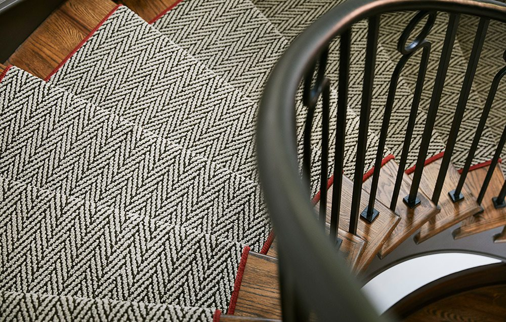 Geometric-print carpet on spiral staircase