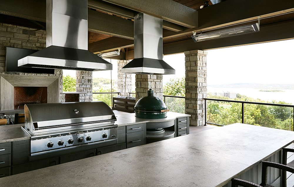 Outdoor kitchen in home at Table Rock Lake