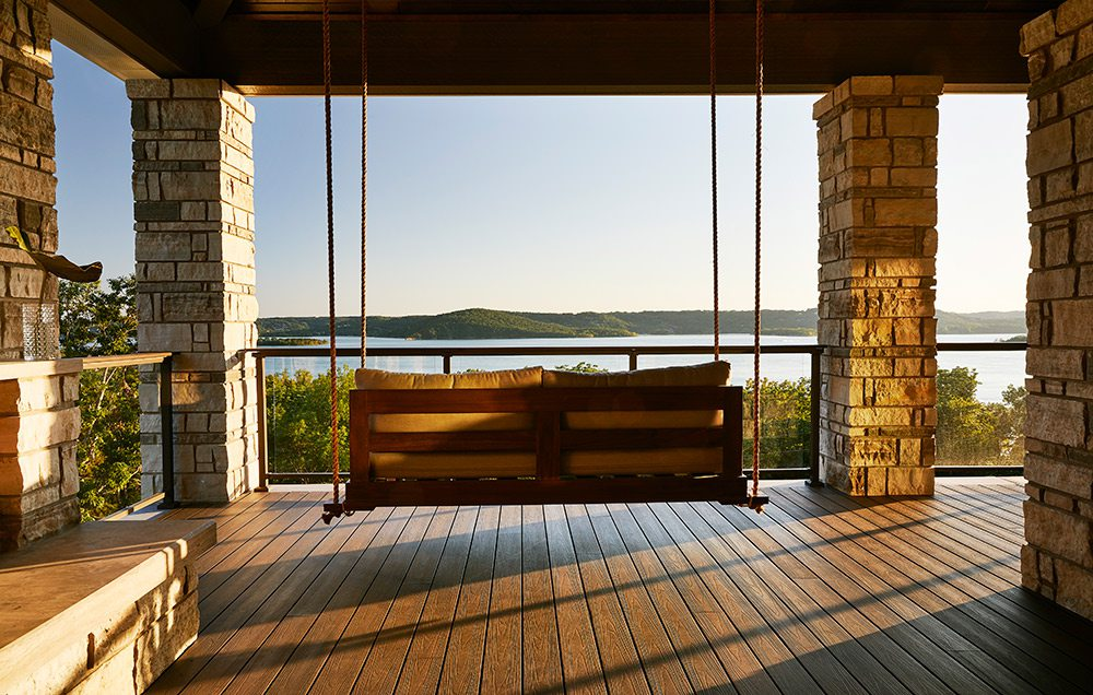 Hanging porch swing overlooking Table Rock Lake