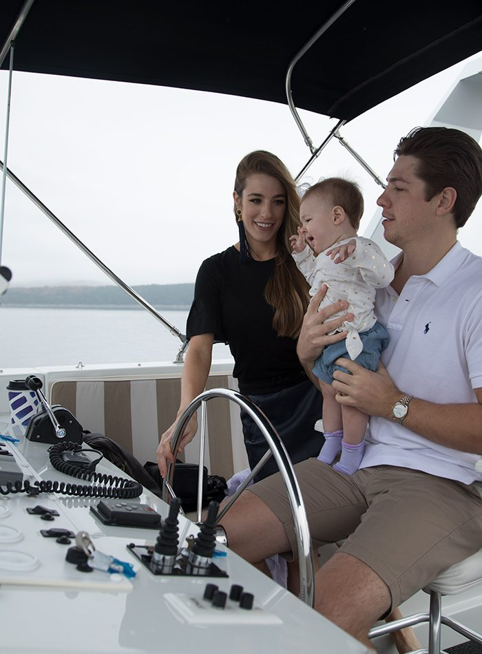 Amanda and Gabe Woodman and their daughter Georgia on Table Rock Lake