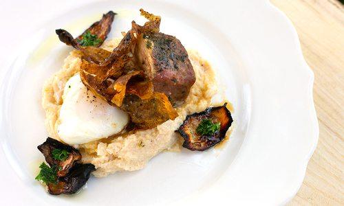Lamb dinner on plate