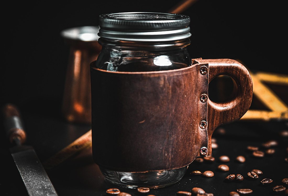 Leather and Wood Coffee Mug by 100 Maker Woods in Joplin MO