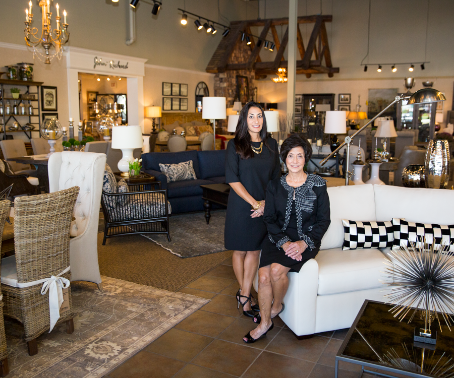 Martie Haik-Frick (left) is joining her family at James Décor with the goal of taking over ownership from her mom, Lee Haik (right).