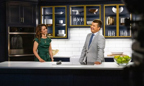 Hosts Melanie Steen and Michael Gibson film The Place