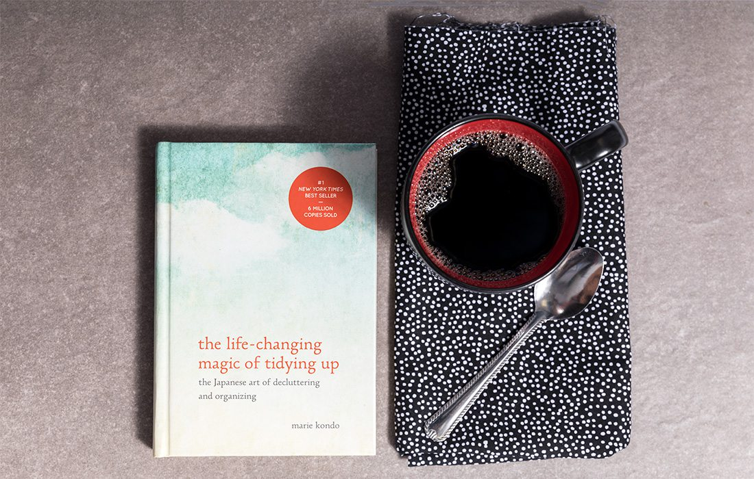 self help book and coffee