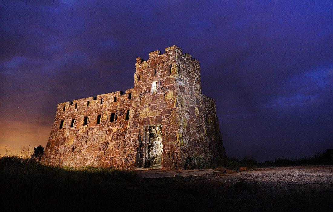 Coronado Heights historical castle at night in Lindsborg KS