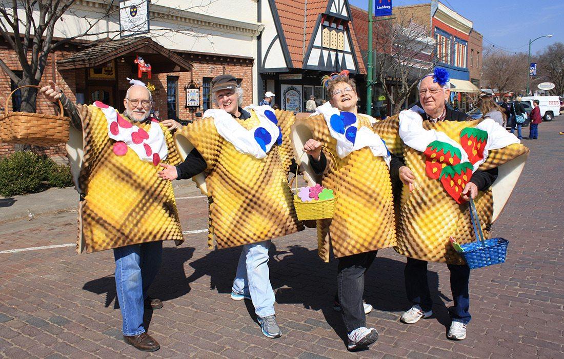 Lindsborg KS residents dressed up as waffles for Våffeldagen or the Waffle Day celebration