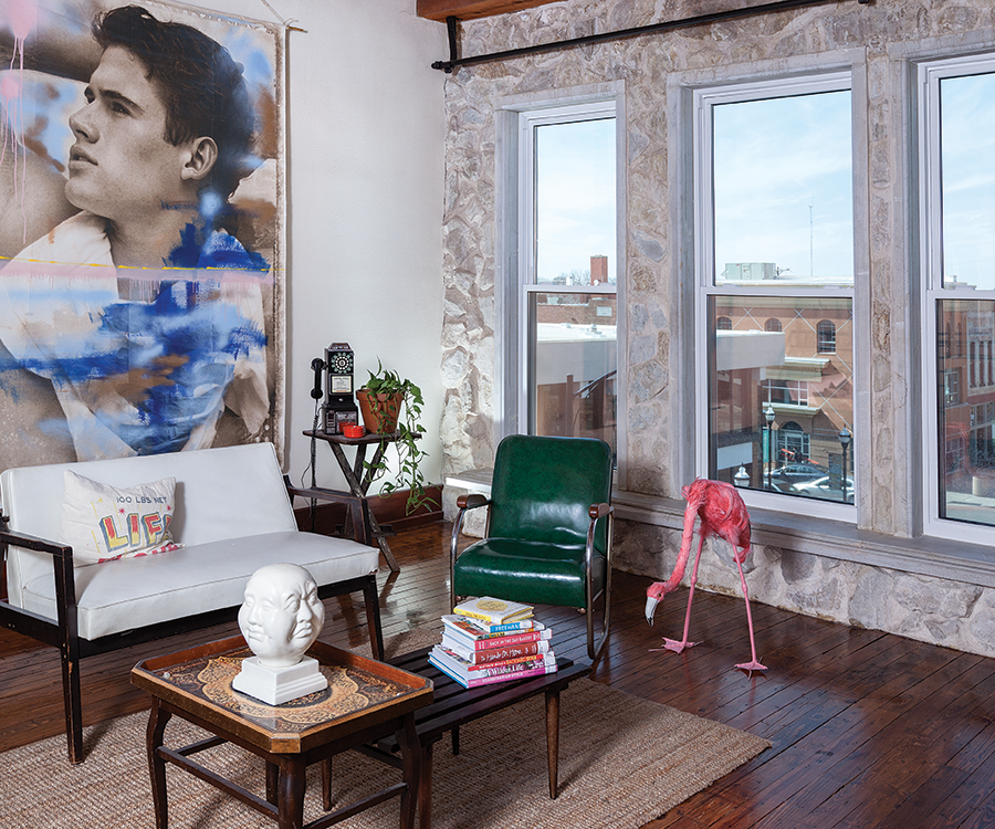 Christina Pike's loft living room