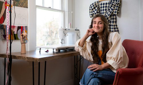 Mabel Johnson sitting at a desk