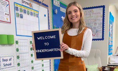 Mackenzie Adams in kindergarten classroom