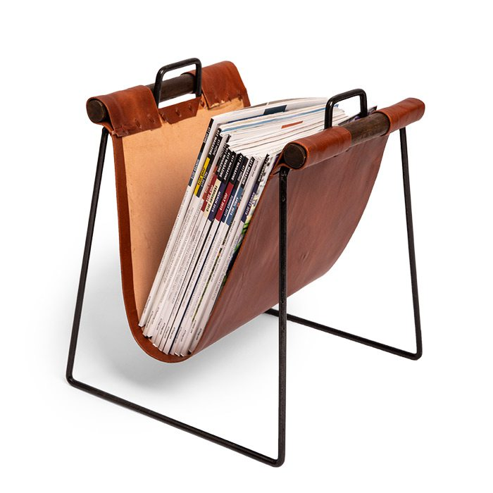 Leather and iron magazine stand.