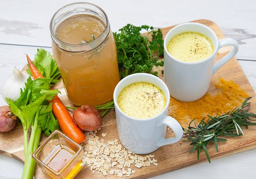 Homemade bone broth and ingredients