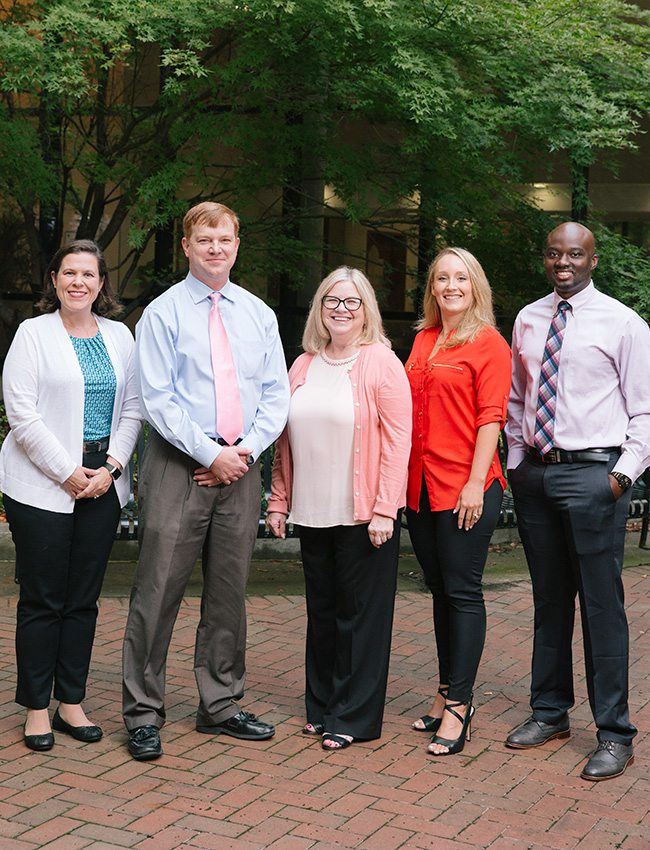 Jennifer Ames, Breast Nurse Navigator; John Bumberry, MD, MHA, Breast Surgeon; Karen Baker, MD, Breast Radiologist; Jessica Snider, DO, Medical Oncologist; Nathan Tonlaar, MD, Radiation Oncologist