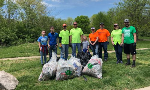Miller Engineering team at stream clean-up